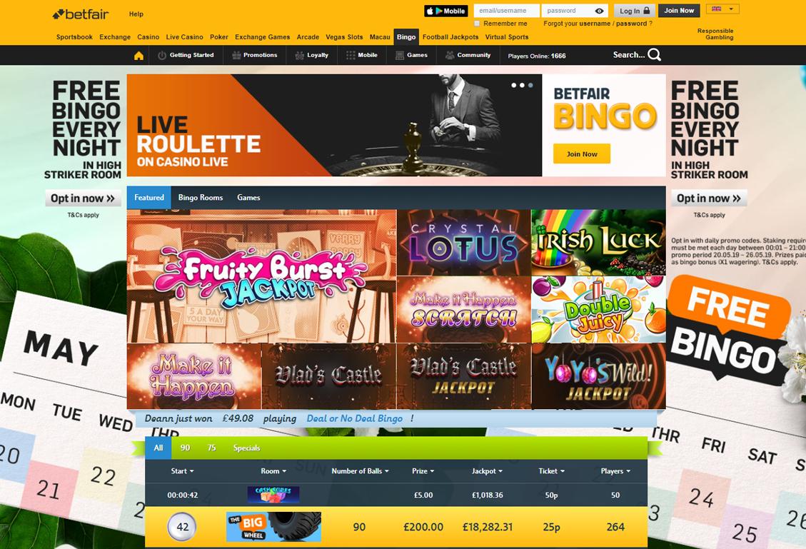 Betfair Bingo Screenshot