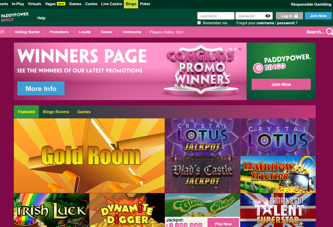 Paddy Power Bingo Screenshot