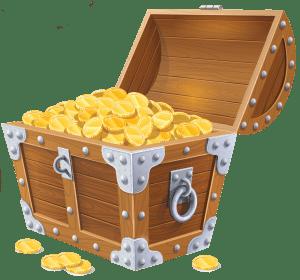 Treasure chest with money